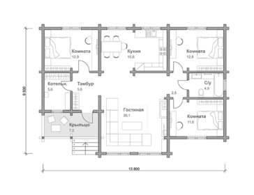 Проект дома Тайга 2