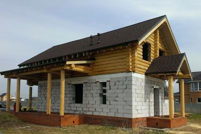 Комбинированный дом ГСБ+бревно